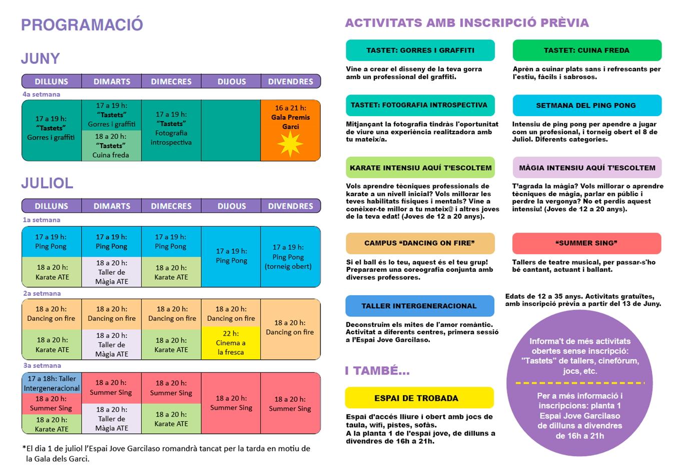 Activitats de juliol Garcilaso 2016 fulla 2